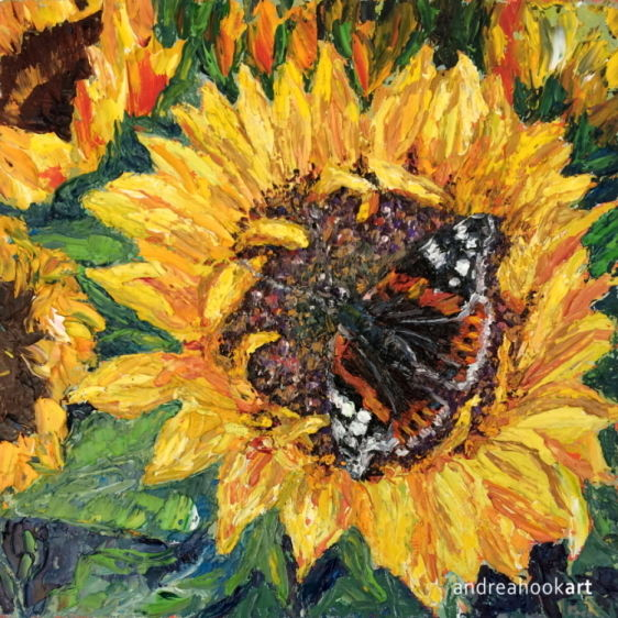 A red admiral butterfly on a bright yellow sunflower