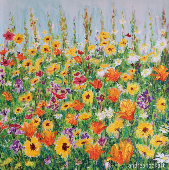 A mass of colourful wildflowers painted with acrylic paints applied with a painting knife