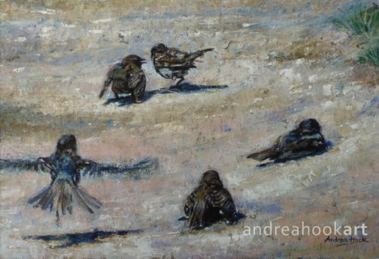 A painting of sparrows having a dust bath on a coastal path by Dorset Artist Andrea Hook
