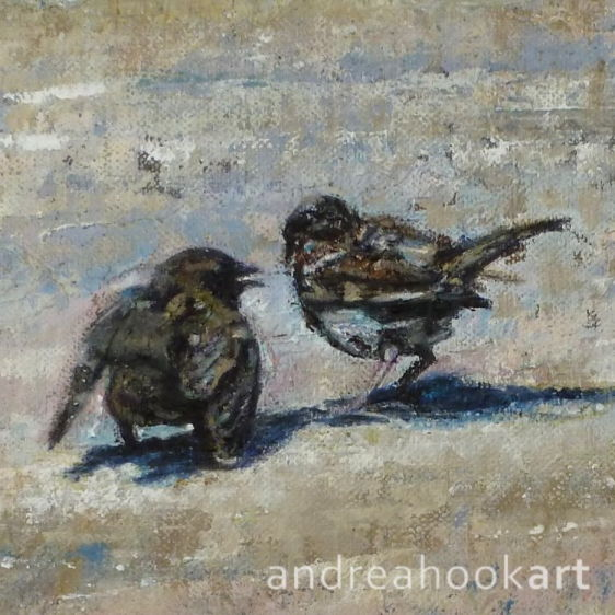 A painting of two sparrows on a dusty coastal path by Andrea Hook