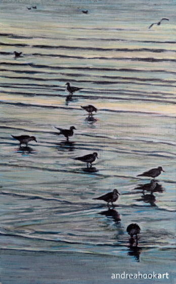 An original painting of seabirds at dusk painted by artist Andrea Hook