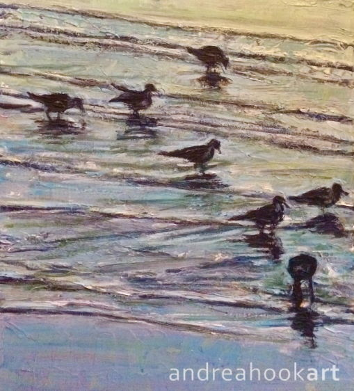 An impasto study of seabirds in shallow water