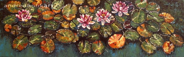 An impasto original painting of waterlilies in a pond at Compton Acres Dorset