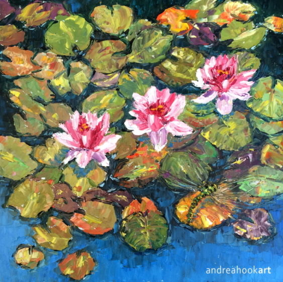 A Dragonfly on waterlilies with three pink and white blooms
