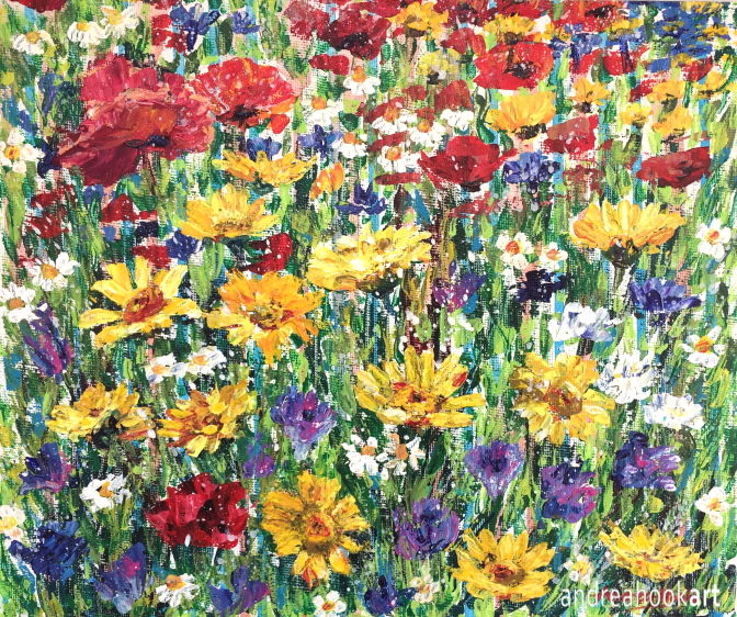 Wayside - a painting of colourful wildflowers painted in impasto acrylic paint applied with a palette knife