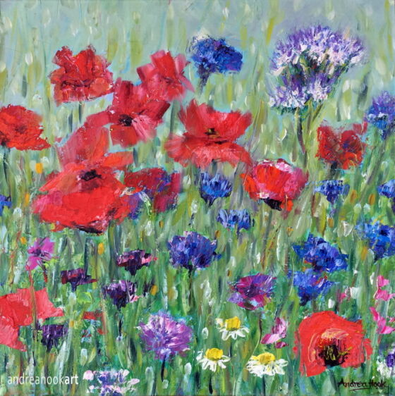 Wildflower painting in oils