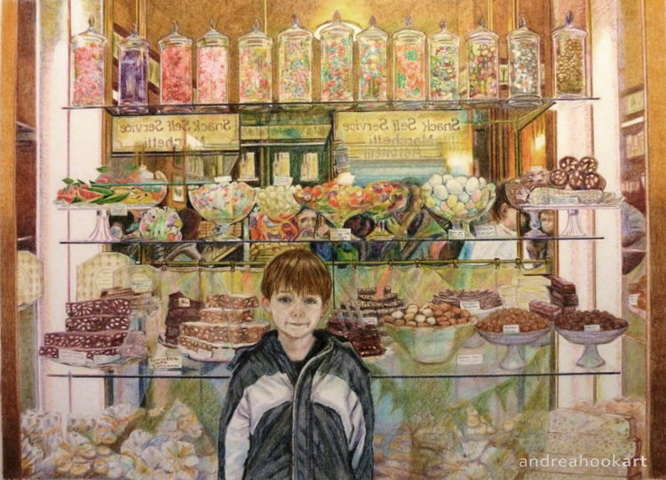 A coloured pencil study of a small boy standing in front of a sweet shop in Florence Italy
