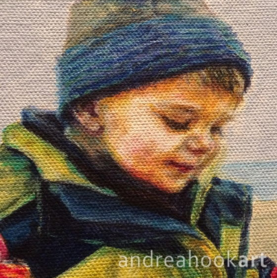 a detail of a portrait of a small boy in progress by Andrea Hook