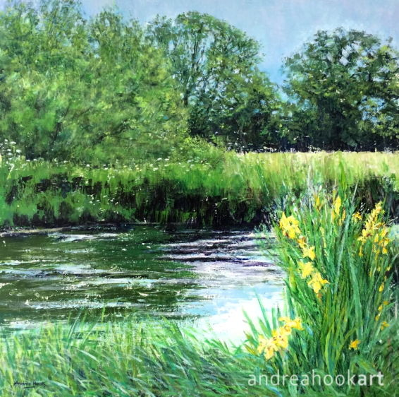 An original painting of a riverbank in Summer with yellow iris in full bloom