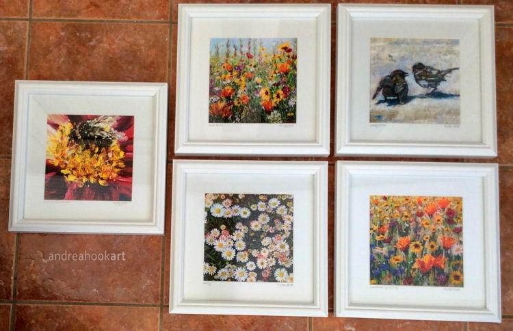 All five medium sized framed prints