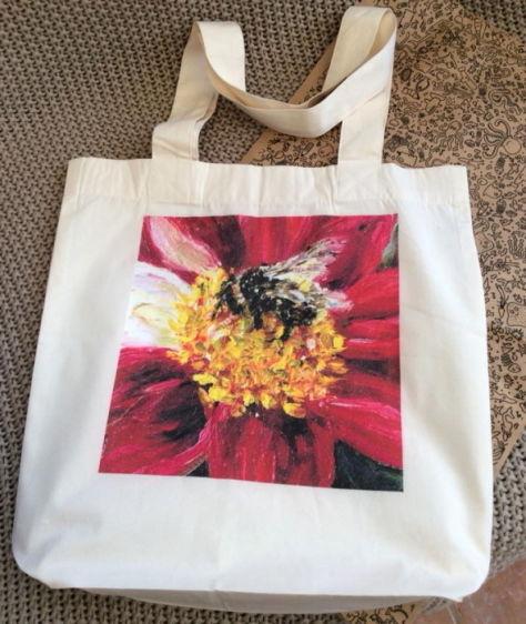 Bumble bee red dahlia organic cotton tote bag