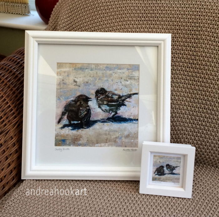 Chatty Bird Framed prints - large and mini