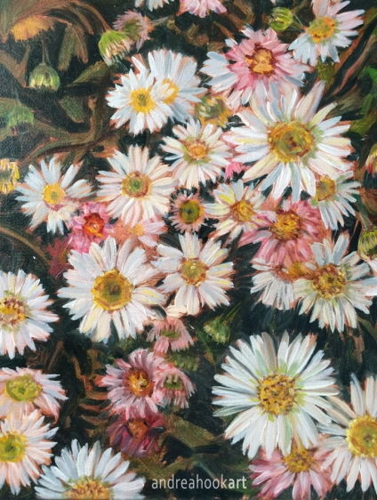 Detail of an oil painting on canvas of daisies