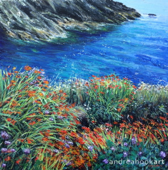 An impasto painting of wildflowers on top of a cliff with deep blue sea below by Andrea Hook