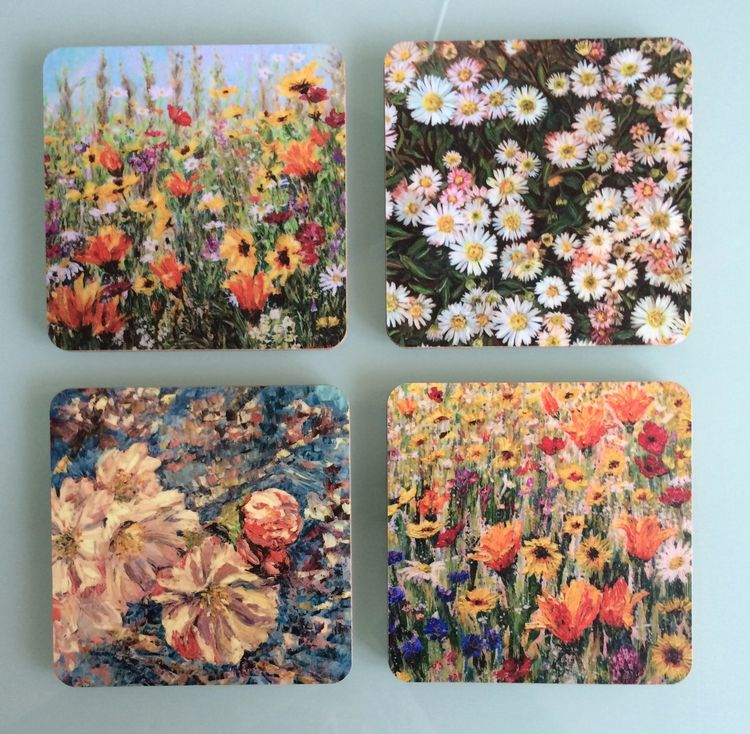 Wildflower coaster set by Dorset Artist Andrea Hook