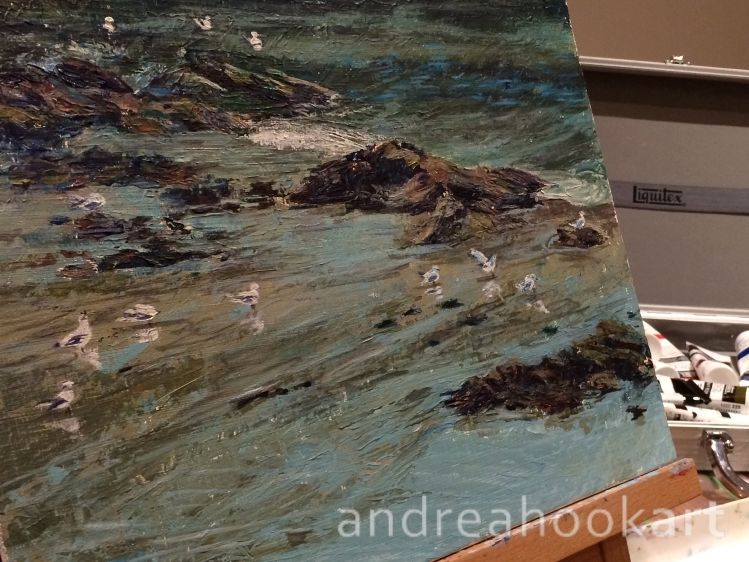 A coastal painting of a harbour - work in progress - painted by Dorset artist Andrea Hook