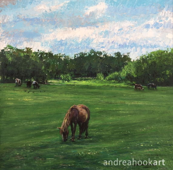 A painting of horses and cows in a meadow in Lyndhurst in the New Forest