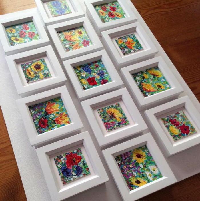 original wildflower mini paintings framed in white wooden frames by Dorset Artist Andrea Hook