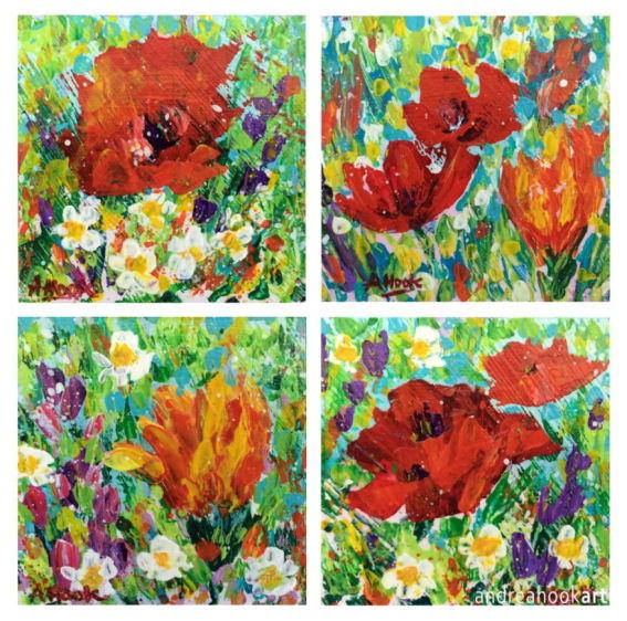 Four mini original wildflower paintings  by Dorset Artist Andrea Hook