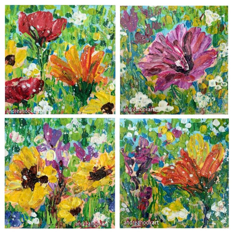 Four mini wildflower paintings