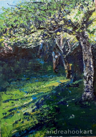 A postcard sized painting of old fruit trees in an orchard by Dorset Artist Andrea Hook