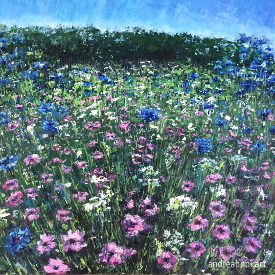 An original painting of a wildflower meadow with pink and blue flowers by Dorset Artist Andrea Hook