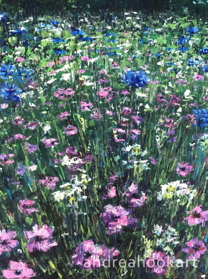 A painting of a wildflower meadow by Dorset Artist Andrea Hook