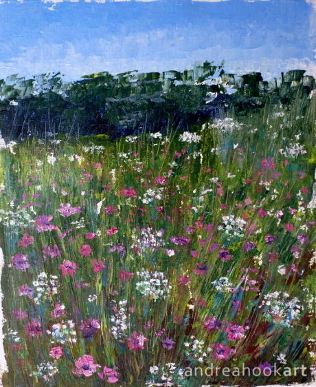 An original painting of pink and white flowers in a meadow by Dorset Artist Andrea Hook