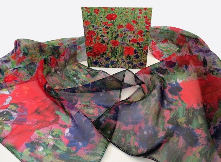 'Poppies & Cornflowers' Paris Chiffon Scarf with matching card