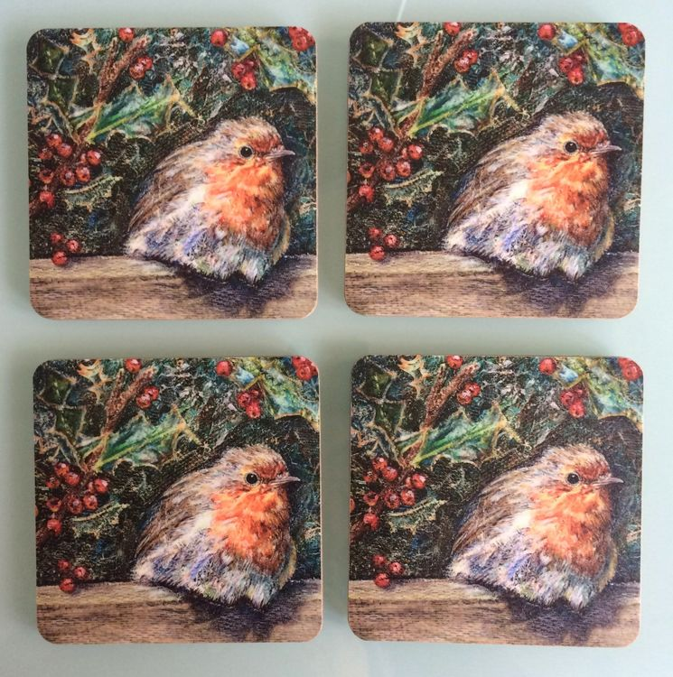 Round Robin robin with holly coasters by Dorset Artist Andrea Hook