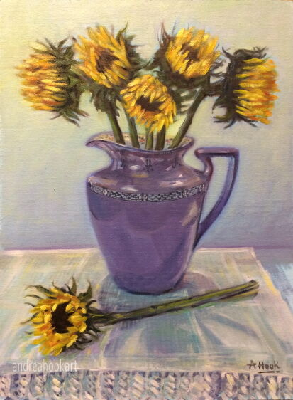 Sunflowers in a Lilac Jug