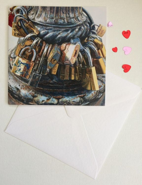 Etsy: 'Precious Metal' Valentine Card of Love Locks, Florence, Italy