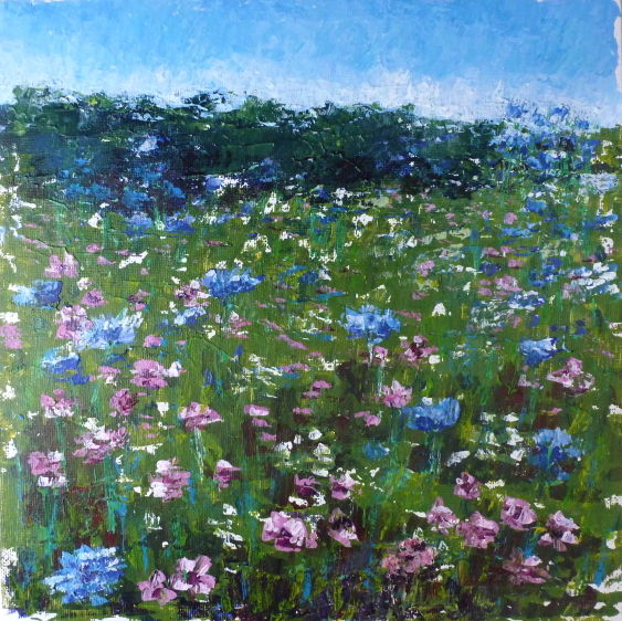 an original painting of a wildflower meadow with pink blue and white flowers
