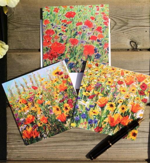 Set of 3 Wildflower Blank Greeting Cards