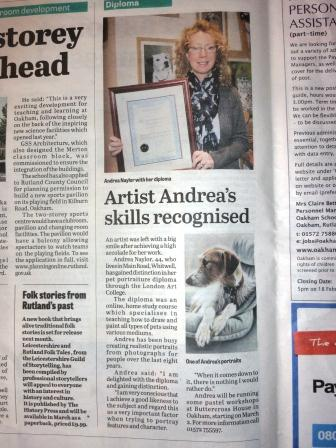 Article in the Stamford Mercury, Rutland Times and the Rutland Mercury 08/02/2013