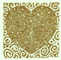 Gold & White/Red & Cream Heart - Linocut