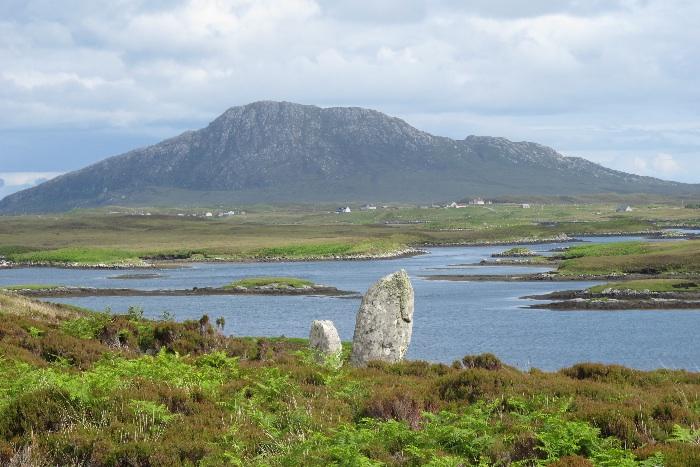 Standing stone circle near Langass Lodge