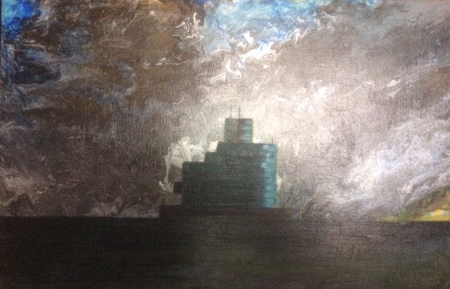 Haile Sand Fort at Dawn. 600mm x 400mm. Acrylic and oil.