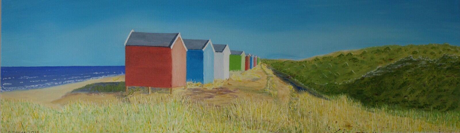 Findhorn Beach Huts. 99.9cm x 29.7cm. Oil