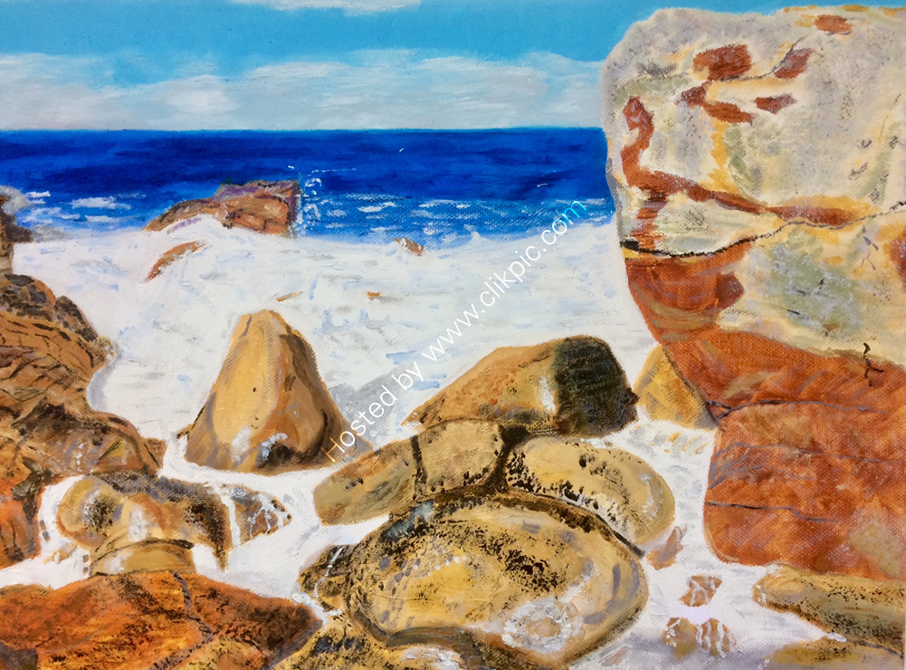 Rocks on the Moray Forth. 417 x 305mm. Oil