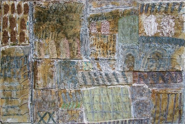 'Beach Fences' (mixed media on board) 2003 94cm x 84cm
