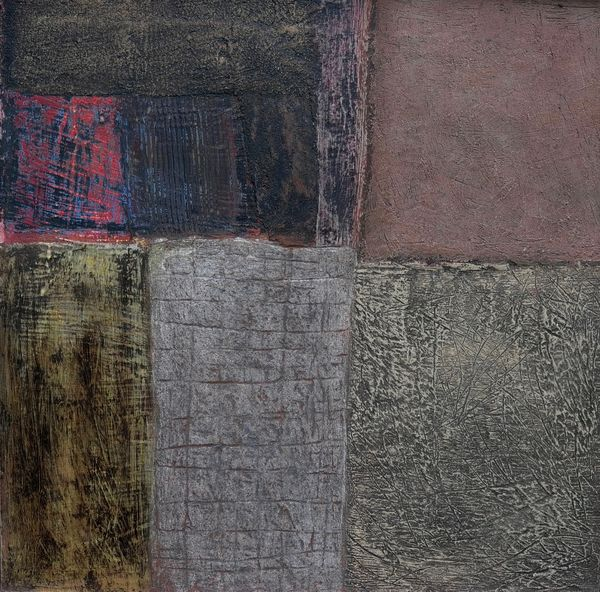 'Down the Alley Way' (mixed media on board) 2019 60cm x 60cm