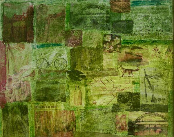 'Fire Green As Grass' (mixed media on paper) 2021 21cm x 17cm