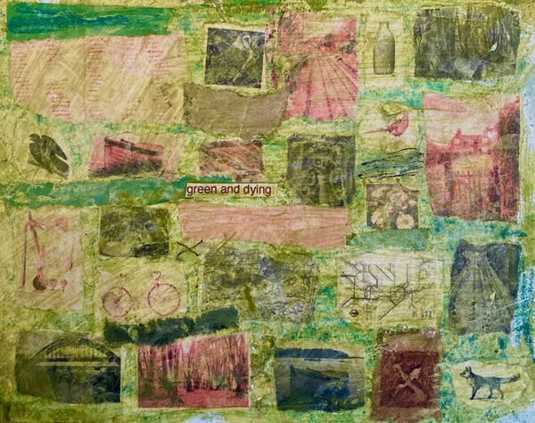 'Green And Dying' (mixed media on paper) 2021 15cm x 12cm