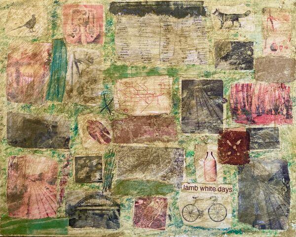 'Lamb White Days' (mixed media on paper) 2021 15cm x 12cm