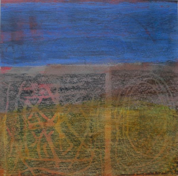 'On the Beach 1' (mixed media on paper) 2020 20cm x 20cm