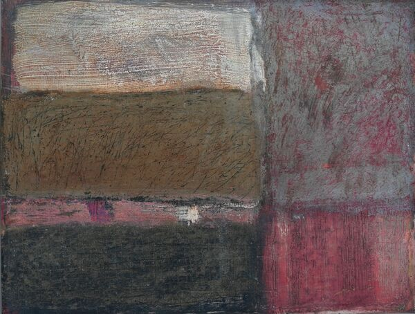 'Stepping Stones' (mixed media on board) 2019 60cm x 45cm