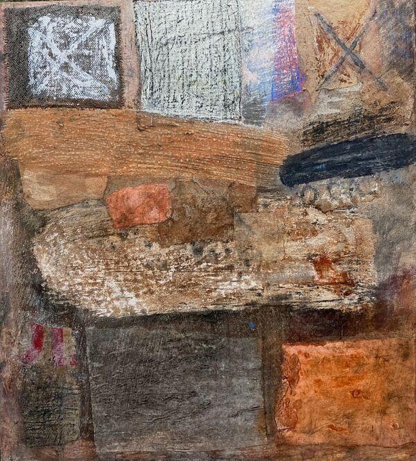'Towards the Light' (mixed media on board) 27cm x 30cm