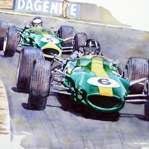 Graham Hill leads Jim Clark