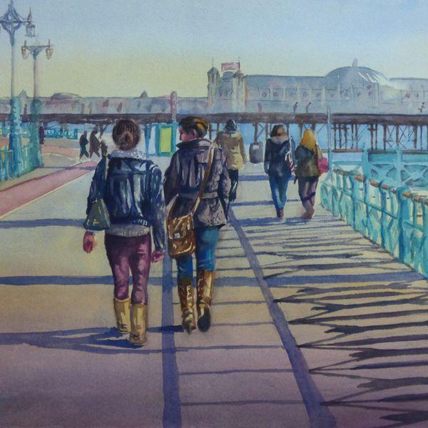 Strolling on Brighton promenade